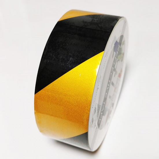Rumeno črn odsevni trak 100mm