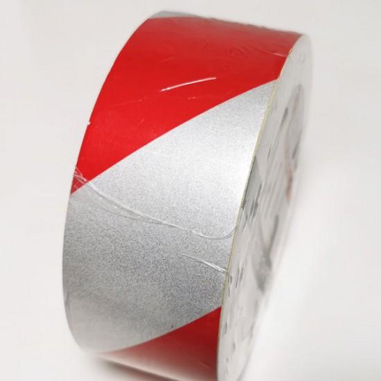 Rdeče bel odsevni trak 50mm