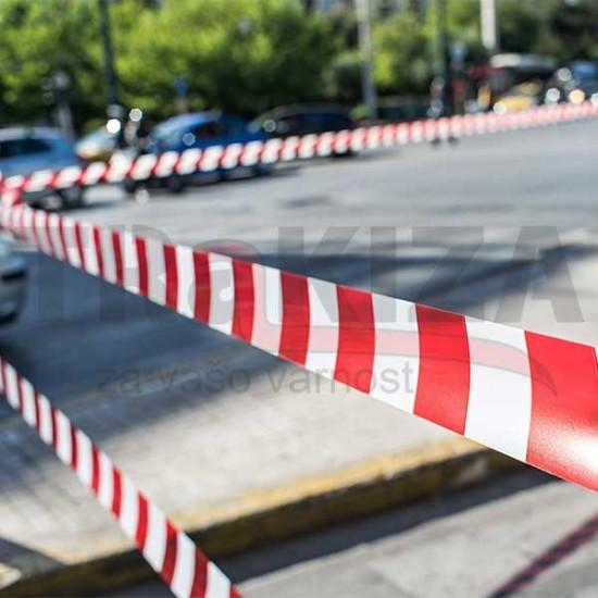 Opozorilni nelepljivi trakovi 70mm x 100m rdeče-beli